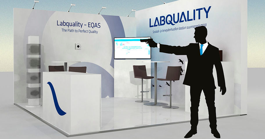 Laser gun shooting competition at Labquality´s booth